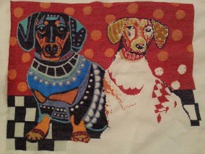 10302037_10152241322580975_5468236511430607853_nDachshunds by Heather Galler being stitched by Kelly Newman