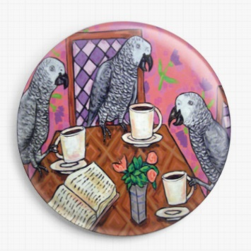 African Grey Parrots Drinking Coffee By Jay Schmetz Licensed Art Needle Minder
