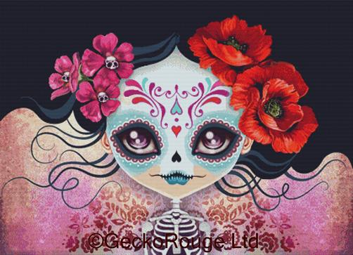 Amelia Sugar Skull by Sandra Vargas Cross Stitch Kit