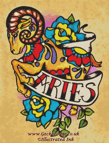 Aries By Illustrated Ink Cross Stitch Kit Zodiac (IILARS)