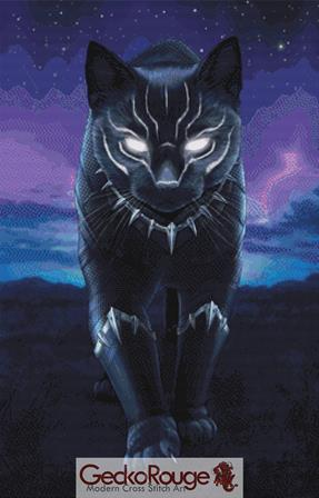 Black Panther Cat By Jenny Parks Cross Stitch Kit ( JPKBLKPN)