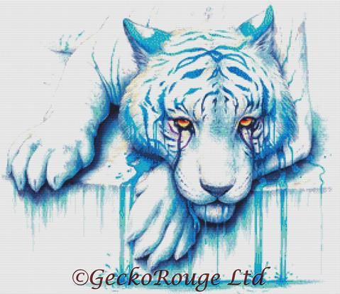 Blue Tears By Jojoes Art Cross Stitch Kit - Jonas Joedicke - White Tiger (JJBLTRS)