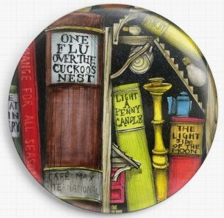 Bookshelf By Colin Thompson Licensed Art Needle Minder No: 5b