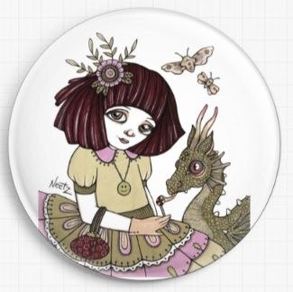 Dragon and Girl By Anita Inverarity Licensed Art Needle Minder