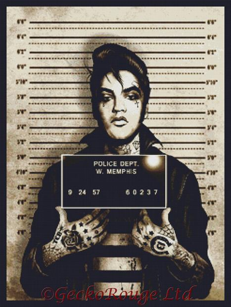 Elvis Mugshot By Marcus Jones Cross Stitch Kit