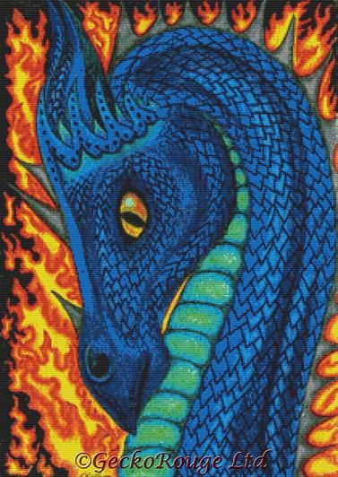 Fire Dragon By Angel Kitten Art Cross Stitch Kit