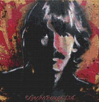 George Harrison By Sara Bowersock Cross Stitch Kit - Beatles