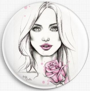Girl With A Pink Rose By Emily Luella Licensed Art Needle Minder