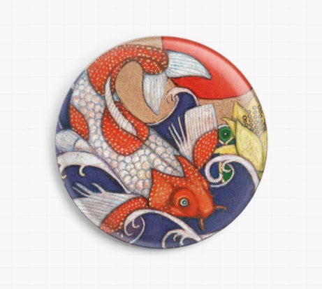 Leaping Koi By Lynnette Shelley Licensed Art Needle Minder
