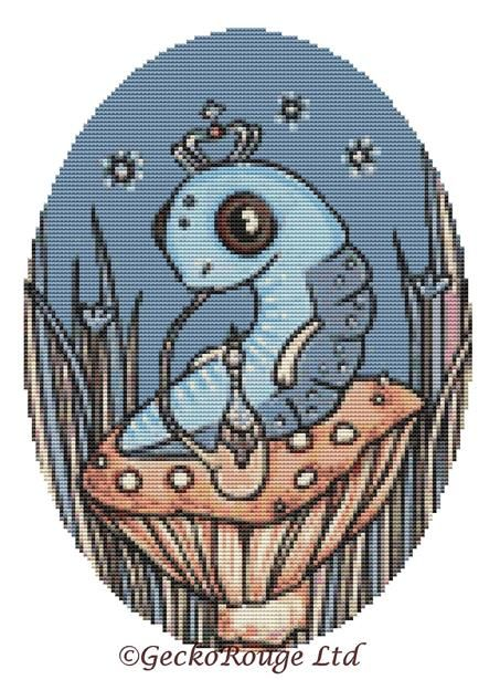 Little Blue Caterpillar By Anita Inverarity Cross Stitch Kit - Alice Series (AIVCATP3)