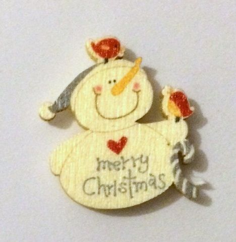 Little Snowman - Wooden Needle Minder (b)