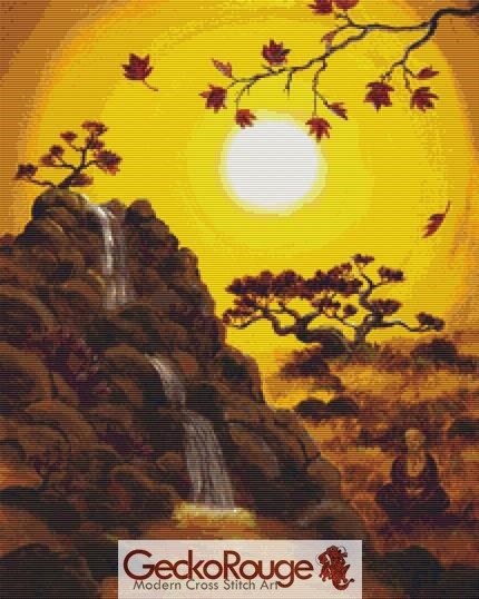 Meditating by a Golden Waterfall  Cross Stitch Kit By Laura Iverson  (LIMEDGOL)