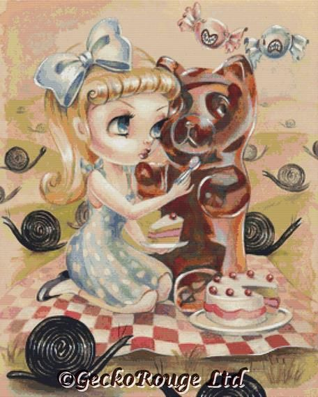 Missy And Gummy In The Liquorice Garden By Simona Candini Cross Stitch Kit