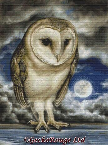 Moon Watch By Tanya Bond Cross Stitch Kit - Owl