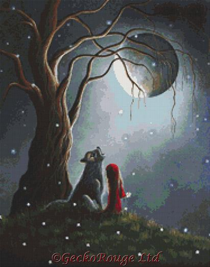 Night with the Lone Wolf By Shawna Erback  Cross Stitch Kit
