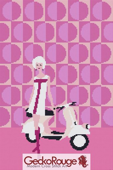 Pinky's Scooter Cross Stitch Kit By Kerry Beary ( KBPINKSC)