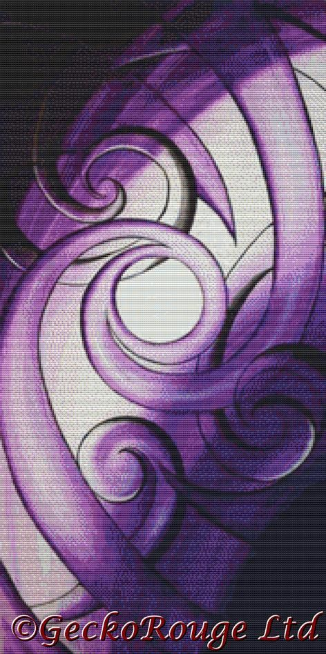 Purple Glass Koru By Reina Cottier Cross Stitch Kit