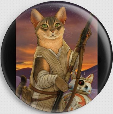 Rey and BB8 Cat By Jenny Parks Needle Minder