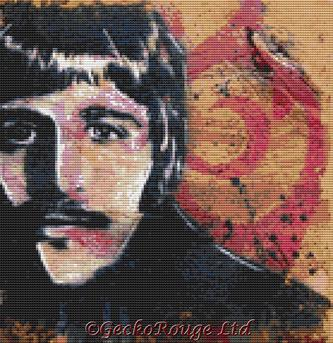 Ringo Starr By Sara Bowersock Cross Stitch Kit - Beatles