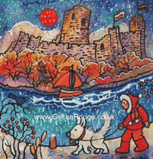 Snow Dog and Pembroke Castle By Dorian Spencer Davies Art Cross Stitch Kit (DDSWDG)