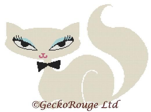 Swanky Kitten White 1 By Fluff Cross Stitch Kit