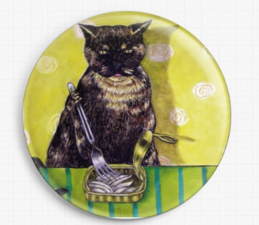 Tortoiseshell Cat and Sardines By Jay Schmetz Licensed Art Needle Minder