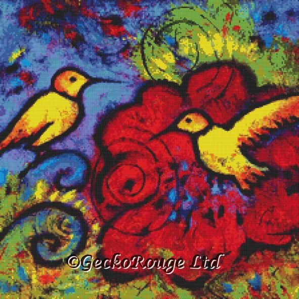 Two Yellow Hummingbirds By Lindy Gaskill Cross Stitch Kit