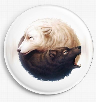 Ying Yang Wolves by Jonas Joedicke Licensed Art Needle Minder
